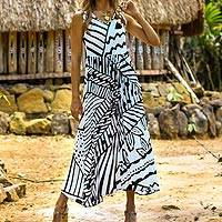 Rayon A-line dress, 'Black and White Jungle' - Onyx and Eggshell Rayon A-Line Dress from Bali
