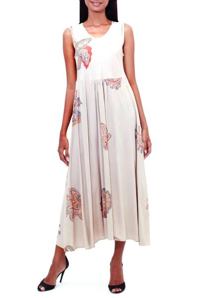 Printed Rayon A-Line Dress in Buff from Bali