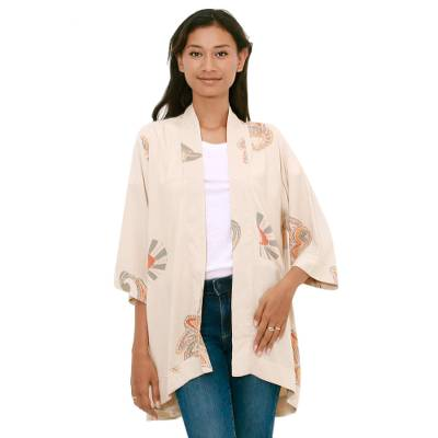 Printed Rayon Jacket in Ecru from Bali