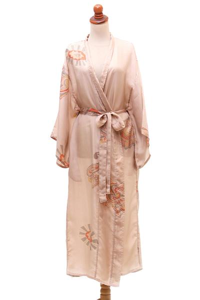 Printed Silk Robe in Ecru from Bali
