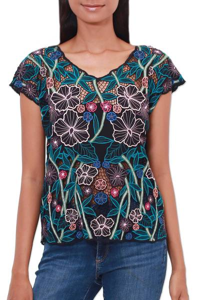 Rayon blouse, 'Midnight Mallow' - Floral Embroidered Rayon Blouse from Bali