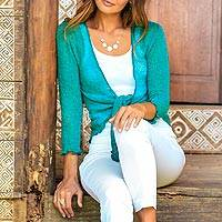 Cardigan, 'Jade Sanur Beach' - Lightweight Cardigan in Jade Green from Bali