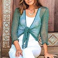 Cardigan, 'Forest Green Sanur Beach' - Lightweight Cardigan in Pine Green from Bali
