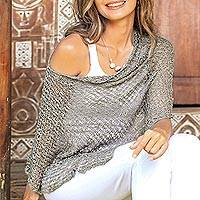 Cotton poncho, 'Sanur Shade in Taupe' - Lightweight Cotton Poncho in Taupe from Bali