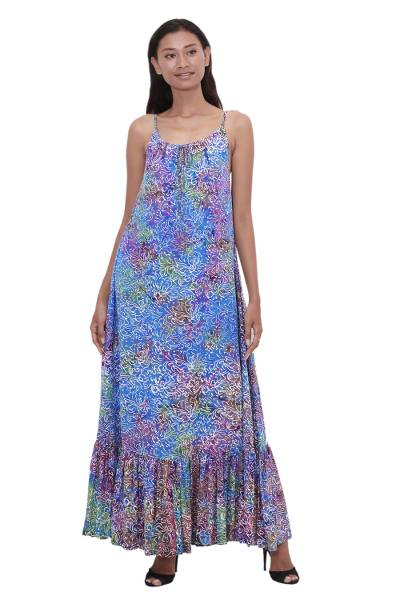 Batik rayon sundress, 'Rainbow Clouds' - Colorful Hand-Stamped Batik Rayon Sundress from Bali