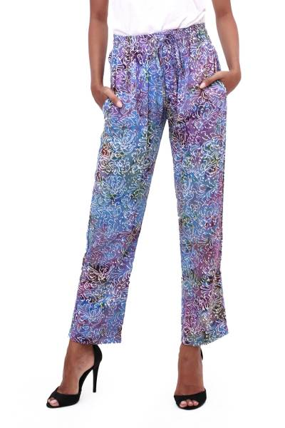 Batik rayon pants, 'Rainbow Clouds' - Hand-Stamped Batik Rayon Pants from Bali