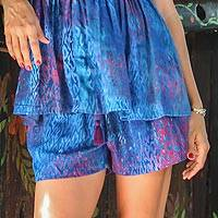 Batik rayon shorts, 'Rainy at Dawn' - Blue and Red Batik Rayon Shorts from Bali