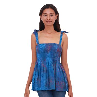 Batik rayon top, 'Rainy at Dawn' - Blue and Red Batik Rayon Top from Bali