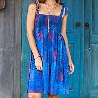 Batik rayon dress, 'Rainy at Dawn' - Batik Motif Rayon Sundress in Blue and Crimson from Bali