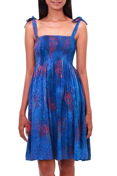 Batik rayon dress, 'Rainy at Dawn' - Batik Motif Rayon Sundress in Blue and Crimson from Bali