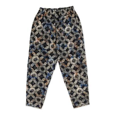 Men's cotton lounge pants, 'Dawn Fireworks' - Circular Motif Men's Cotton Lounge Pants from Bali