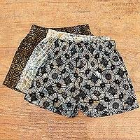 Men's cotton boxers, 'Masculine Variety' (set of 3)