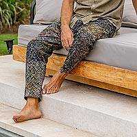 Men's cotton pants, 'Faraway Stars' - Printed Men's Cotton Pants in Brown from Bali