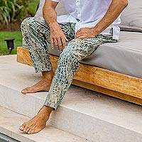 Men's cotton lounge pants, 'Forest Pebbles' - Verdant Hand-Printed Cotton Pants from Bali