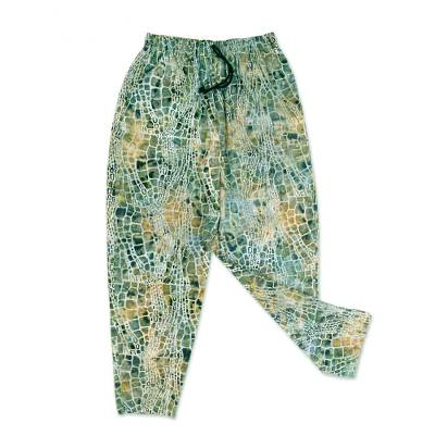 Men's cotton lounge pants, 'Forest Pebbles' - Verdant Hand-Printed Cotton Pants from Bali