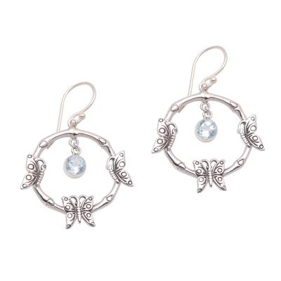 Butterfly-Themed Blue Topaz Dangle Earrings from Bali