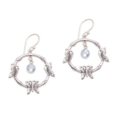 Blue topaz dangle earrings, 'Butterfly Pleasure' - Butterfly-Themed Blue Topaz Dangle Earrings from Bali