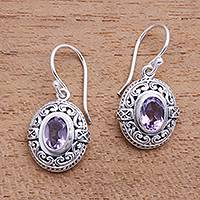 Amethyst dangle earrings, 'Central Glitter' - 2.5-Carat Oval Amethyst Dangle Earrings from Bali