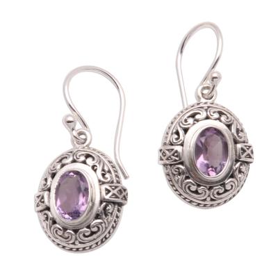 Amethyst dangle earrings, 'Central Glitter' - 2.5-Carat Oval Amethyst Dangle Earrings from Bali