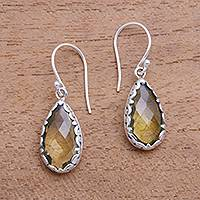 Quartz dangle earrings, 'Lemon Dew' - 6-Carat Yellow Quartz Dangle Earrings from Bali