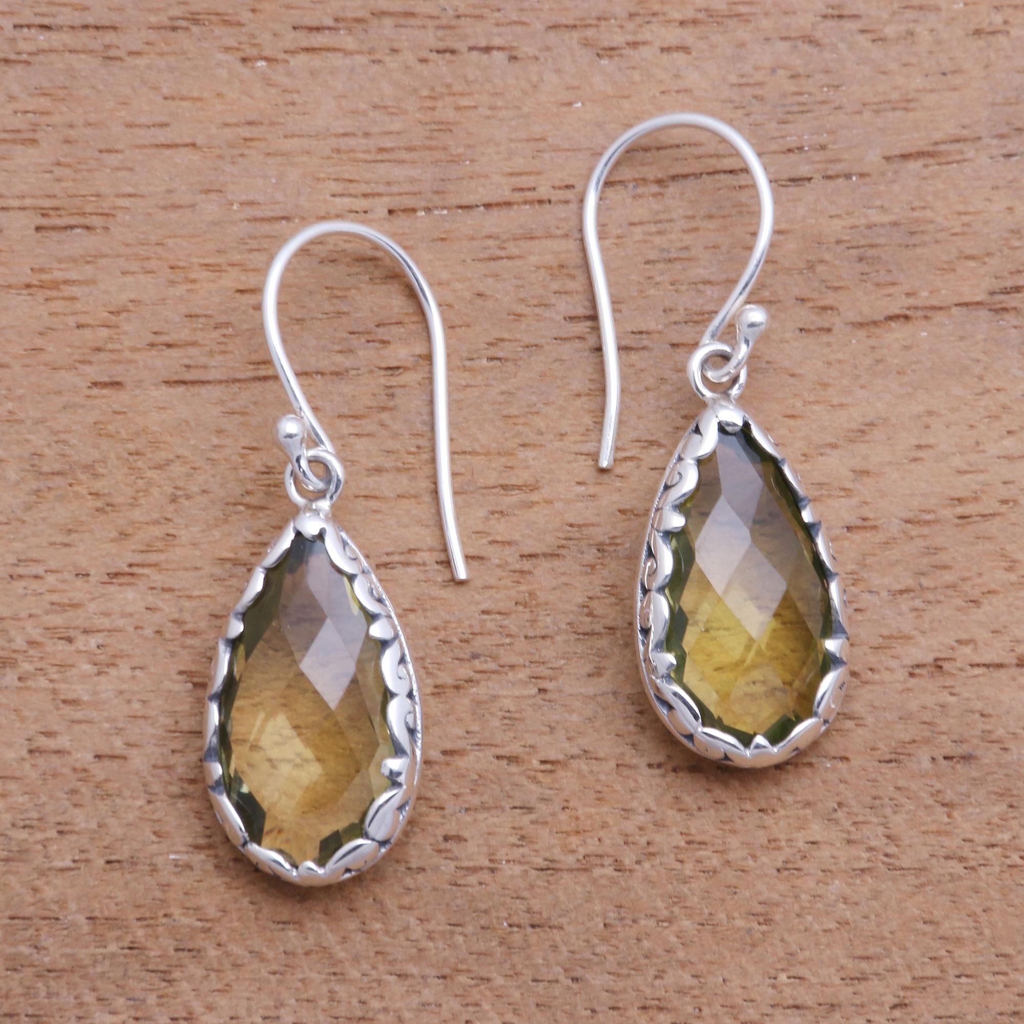 6 Carat Yellow Quartz Dangle Earrings From Bali Lemon Dew