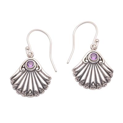 Amethyst dangle earrings, 'Seashore Shells' - Seashell-Shaped Amethyst Dangle Earrings from Bali