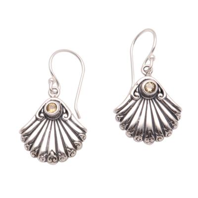Seashell-Shaped Citrine Dangle Earrings from Bali