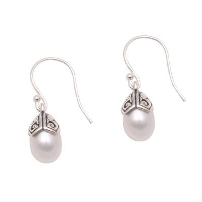 Cultured pearl dangle earrings, 'Mermaid Teardrops in White' - Cultured Pearl Dangle Earrings in White from Bali