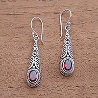 Garnet dangle earrings, 'Regal Order' - 2-Carat Oval Garnet Dangle Earrings from Bali