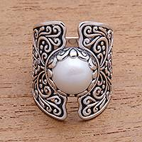 Cultured pearl cocktail ring, 'Temple of the Moon' - White Cultured Pearl Cocktail Ring from Bali