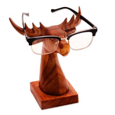 Wood eyeglasses holder, 'Studious Deer in Natural' - Deer-Shaped wood Eyeglasses Stand with a Natural Finish