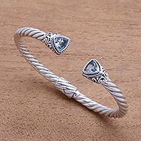 Blue topaz cuff bracelet, 'Amazing Bali'