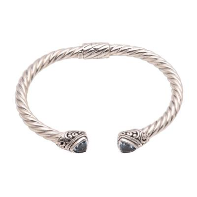 Blue topaz cuff bracelet, 'Amazing Bali' - 5.5-Carat Trillion Blue Topaz Cuff Bracelet from Bali