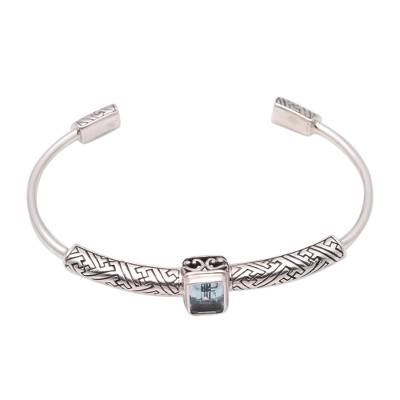 Blue topaz cuff bracelet, 'Gemstone Imagination' - 3.5-Carat Blue Topaz Cuff Bracelet from Bali