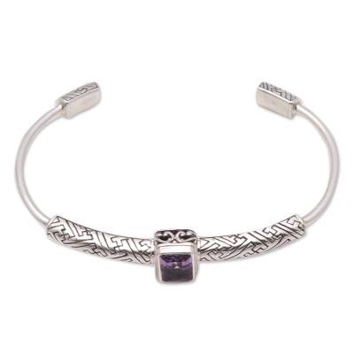 Amethyst cuff bracelet, 'Gemstone Imagination' - 2-Carat Amethyst Cuff Bracelet from Bali
