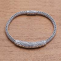 Gold accented sterling silver pendant bracelet, 'Lined Beauty'