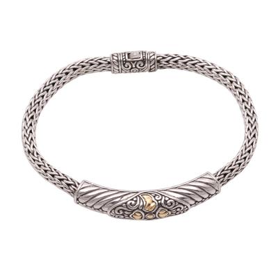 Gold accented sterling silver pendant bracelet, 'Imperial Beauty' - 18k Gold Accented Sterling Silver Pendant Bracelet from Bali