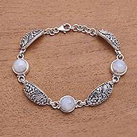 Rainbow moonstone link bracelet, 'Rainbow Shield' - Rainbow Moonstone Link Bracelet from Bali