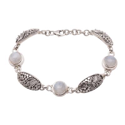 Rainbow moonstone link bracelet, 'Rainbow Shield' - Rainbow Moonstone Link Bracelet from Bali