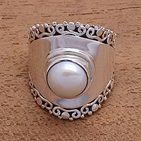 Cultured pearl cocktail ring, 'Mountaintop in White'