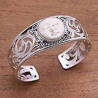 Sterling silver and bone cuff bracelet, 'Ocean Soul' - Sterling Silver and Bone Cuff Bracelet from Bali
