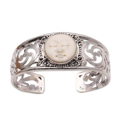 Sterling silver and bone cuff bracelet, 'Ocean Soul' - Sterling Silver and Bone Cuff Bracelet from Bali