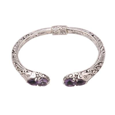 4-Carat Elephant-Themed Amethyst Cuff Bracelet from Bali