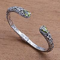 Peridot cuff bracelet, 'Hint of Twilight' - Peridot and Sterling Silver Floral Motif Cuff Bracelet