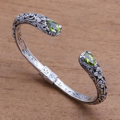Peridot cuff bracelet, Hint of Twilight