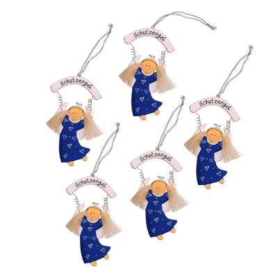 Blue Wood Guardian Angel Ornaments from Bali (Set of 5)