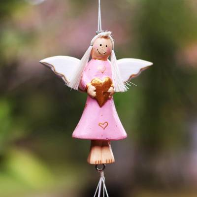 Wood and aluminum holiday decorative accent, 'Angel's Love in Pink' - Wood and Aluminum Pink Angel Holiday Decorative Accent