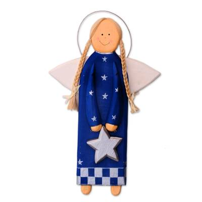 Blue Wood Angel with a Star in Holiday Decor from Bali