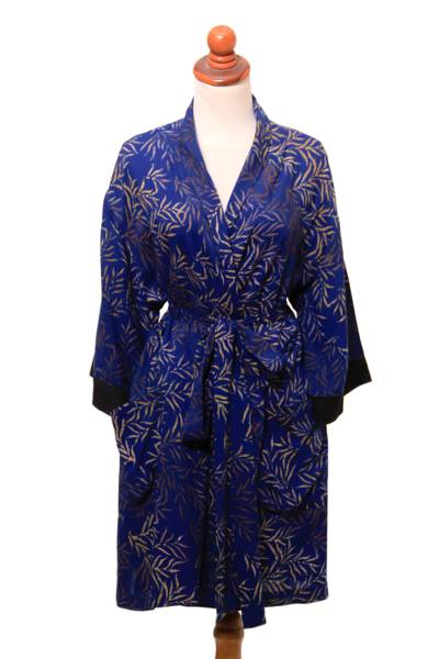 Leaf Motif Cotton and Rayon Blend Robe in Navy from Bali