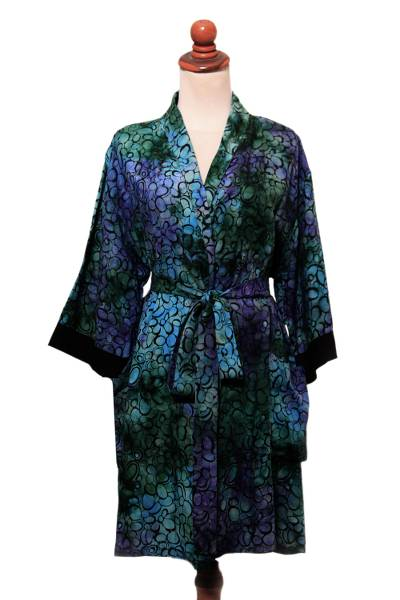 Bubble Motif Cotton and Rayon Blend Robe from Bali
